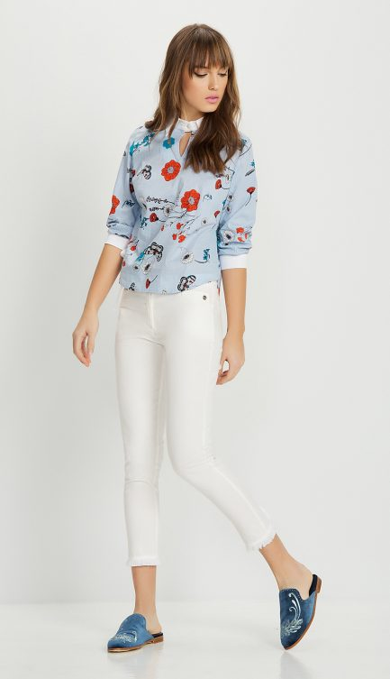 trousers in cotton textile with lace and zips